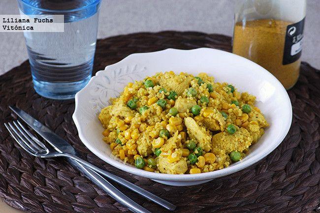 Pollo al ras el hanout con Cuscus y maíz