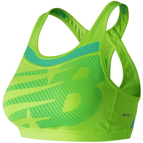 New Balance 61310 Women's NB Pulse Bra ($46) ❤ liked on Polyvore featuring activewear, sports bras, green, new balance sports bra, green sports bra, new balance activewear and new balance