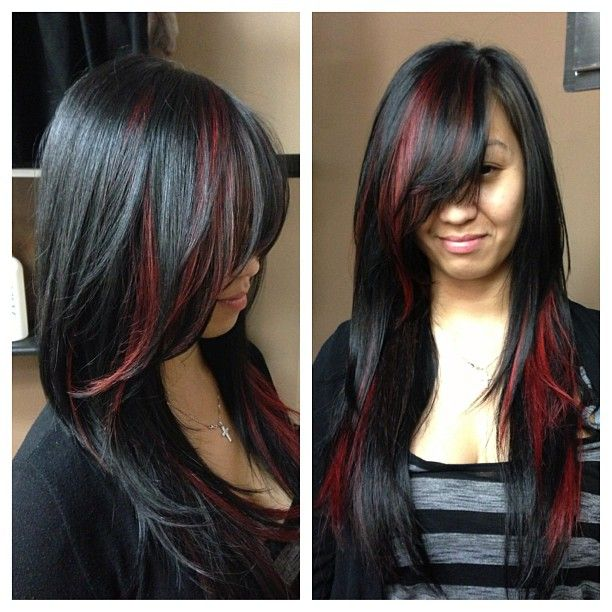 Dark red highlights on black hair the best black hair 2017 the 25 best black hair red highlights ideas on pmusecretfo Choice Image