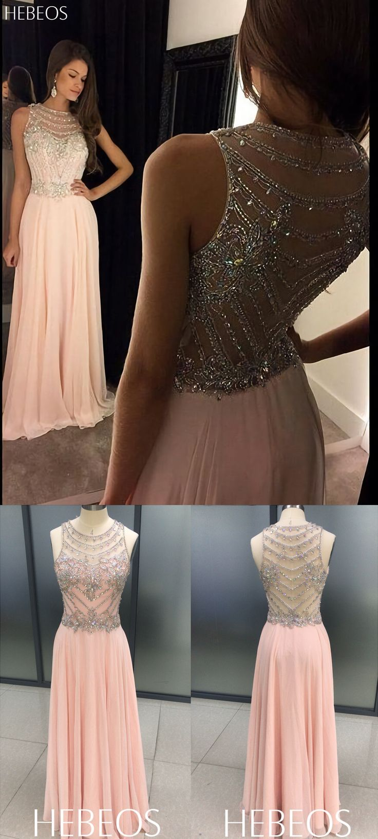 HEBEOS A-Line Scoop Chiffon Pink Long 2018 Prom Dresses