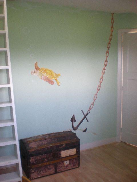 Zeeschildpad met anker   muurschildering   kinderkamer   www.groeneballon.nl   Den Haag