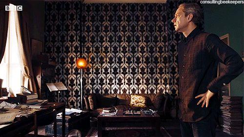 John Watson burying his face in his hand Sherlock animated gif