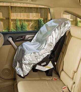 A car-seat sun shade keeps the seat at a comfortable 69 degrees.