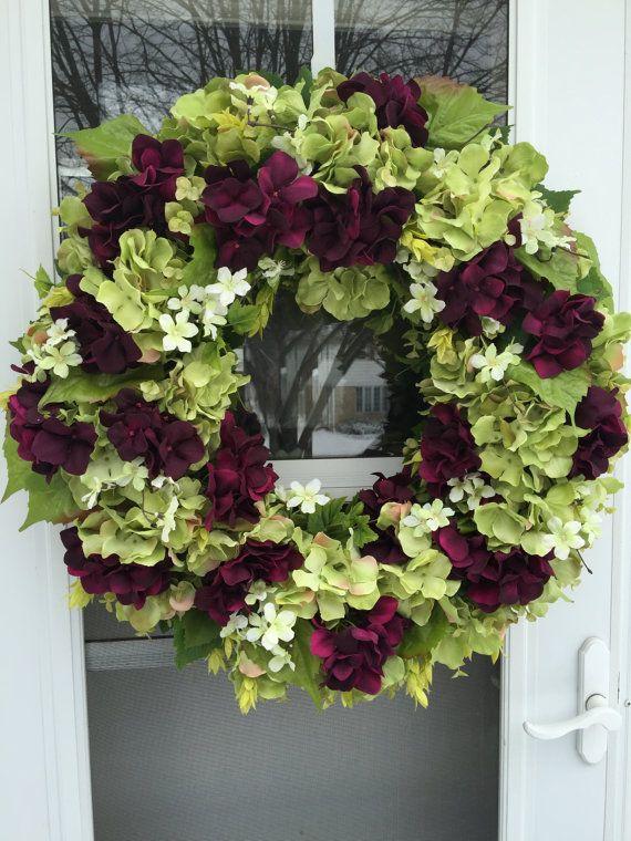 Vibrant Plum & Green Hydrangea Blooms Wreath by julielaplant