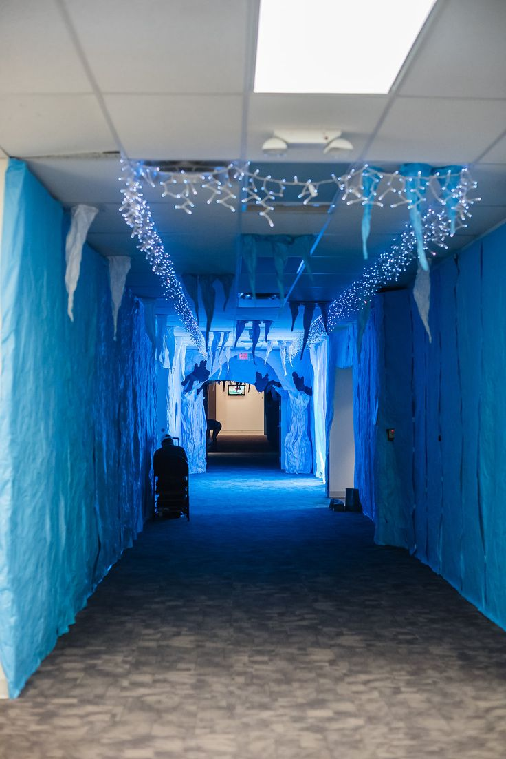 Ice cave hallway at #OperationArctic -- an opportunity to introduce some blue into your white Arctic decor!