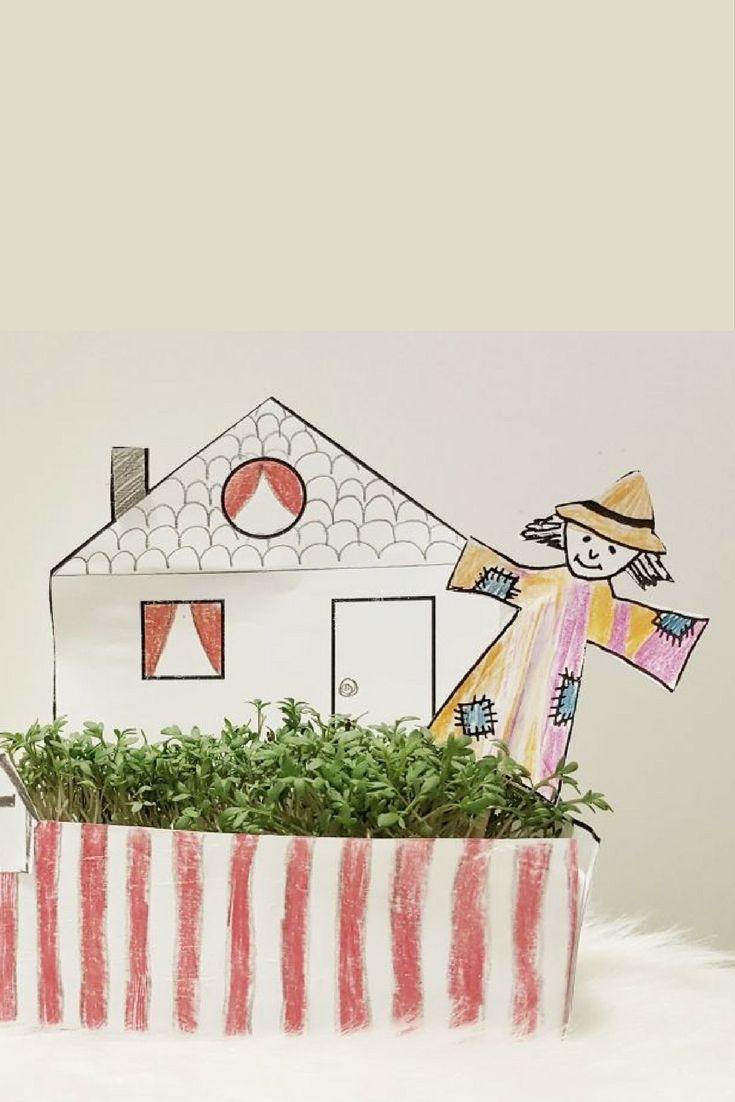 Kressegarten mit Kindern basteln, Kresse säen, Kresse ist gelingsicher und super für Kinder geeignet. Aus Papier einen Kressegarten kostenlos drucken und basteln