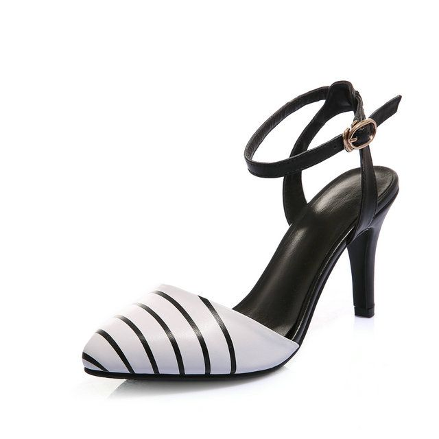 Women Genuine Leather SlingBacks Shoes Women Black and White Concise Classics Women Pumps Very stylish all-match