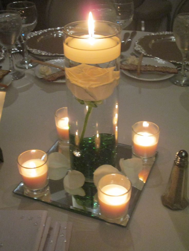 22 best centros de mesa con velas chicos images on pinterest for Mesa vidrio