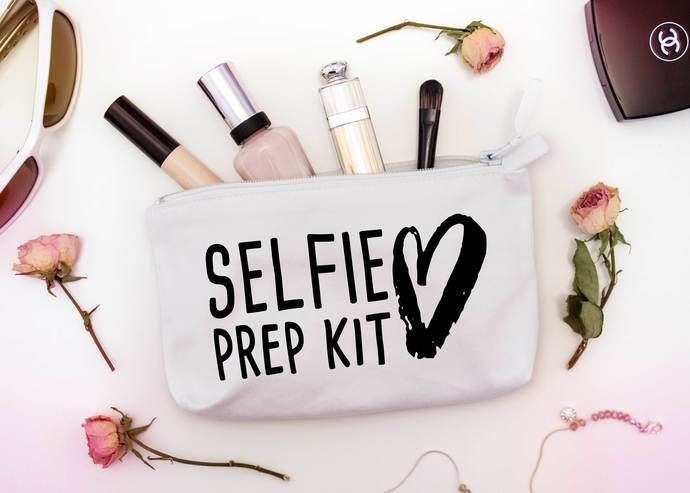 Selfie Prep Kit Custom Makeup Pouch, one of a kind cosmetic bags, personalized birthday gifts by Pretty Party Favors, $8.50 USD