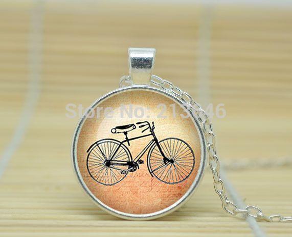 10 шт. Bicycle ожерелье велосипедов велосипед драгоценности старинные ожерелья велосипед стекло кабошон ожерелье A0936