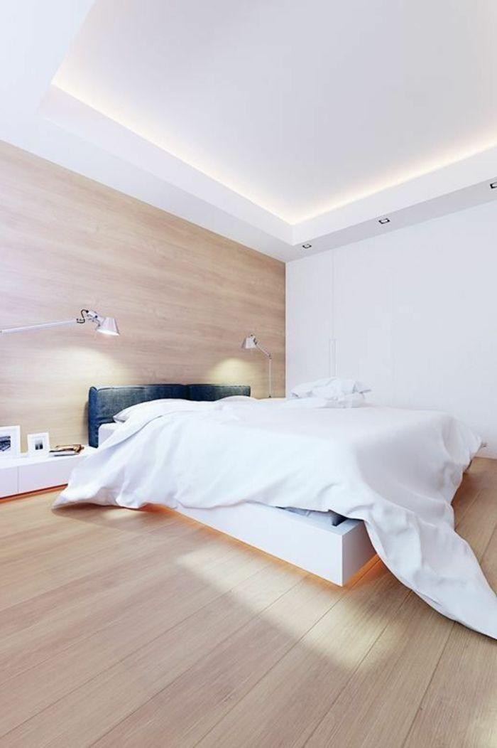 éclairage indirect pour la chambre a coucher d'esprit scandinave meubles en bois clair