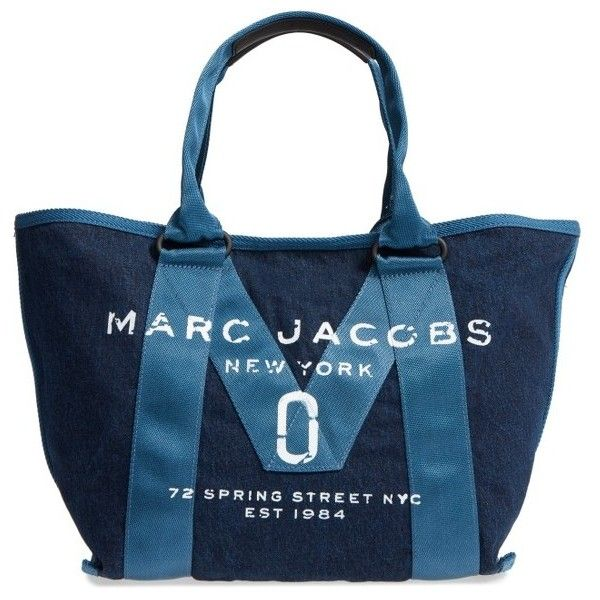 Women's Marc Jacobs New Logo Denim Tote found on Polyvore featuring polyvore, women's fashion, bags, handbags, tote bags, denim, denim handbags, marc jacobs tote, denim tote and tote purses