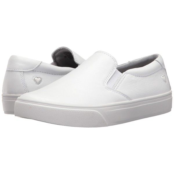 Nurse Mates Faxon (White) Women's Slip on  Shoes ($90) ❤ liked on Polyvore featuring shoes, breathable shoes, full grain leather shoes, round cap, white slip resistant shoes and slip on slip resistant shoes
