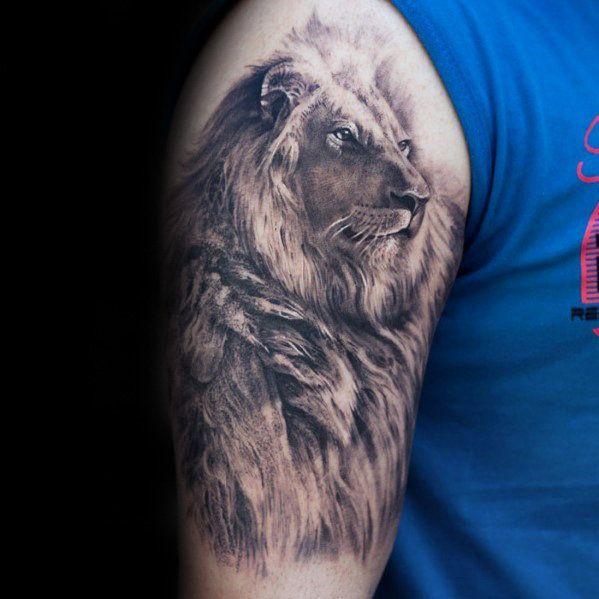 50 realistische Lion Tattoo Designs für Männer – Felidae Ink Ideas