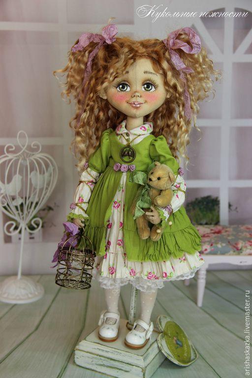 Купить Василиса .Кукла авторская текстильная .Кукла ручной работы . - зеленый, белый, коричневый, розовый