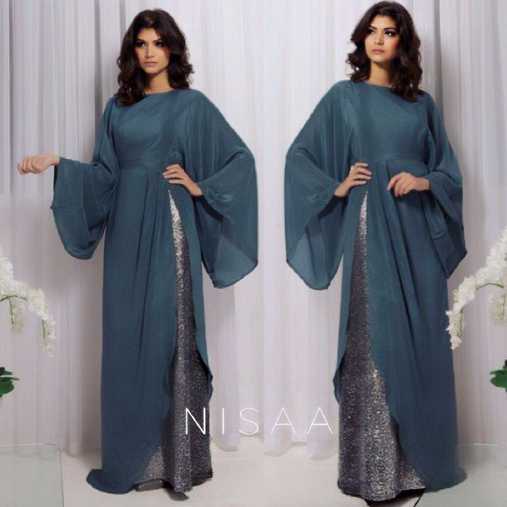 Draped Front Sequinned Gown Shop Now > www.NisaaBoutique.com #Nisaa #Nisaab #modestfashion #eveningwear #abaya #dress