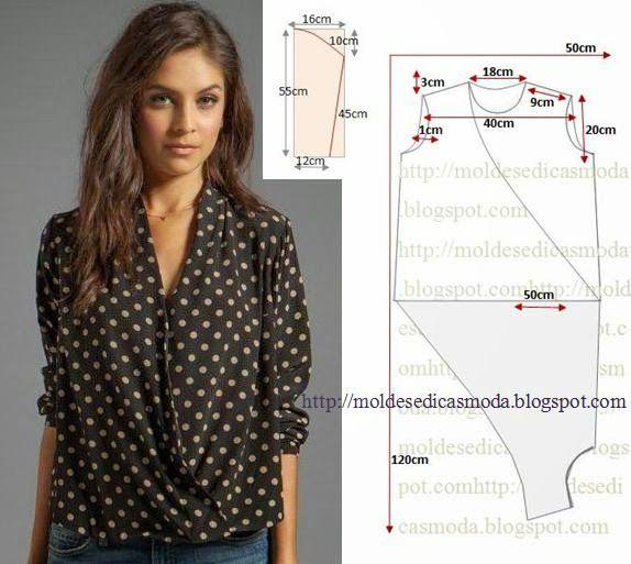 SEQUÊNCIA OPERATÓRIA DO MOLDE DE BLUSA Corte um retângulo de tecido ou papel com a altura e...