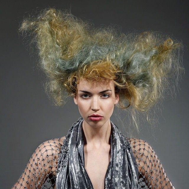 Work by Nakia Stevens #urbannative #wella #trendvision #trendvision2014 #soft #beautiful #hair #hairstyle #competition #photoshoot #makeup #texture #bighair #yellow #green #frothytexture #iwantthathair