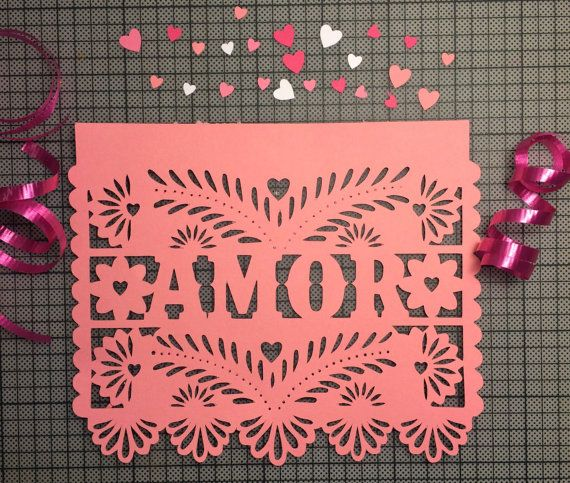 Papel Picado Flags, Paper Banners for Weddings, Amor Garland for Engagement Parties, Valentines Day, Fiesta Wedding
