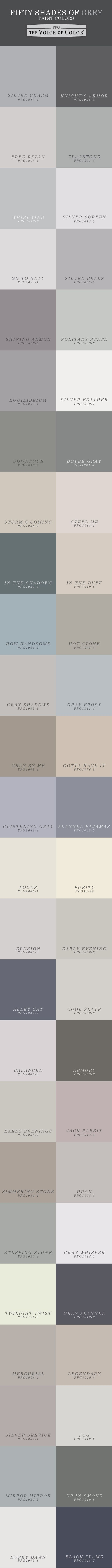 Fifty Shades of Grey Paint Colors from the PPG Voice of Color® palette! Here are 50 shades of grey to fuel your neutral color inspiration and grey color schemes. #50shades