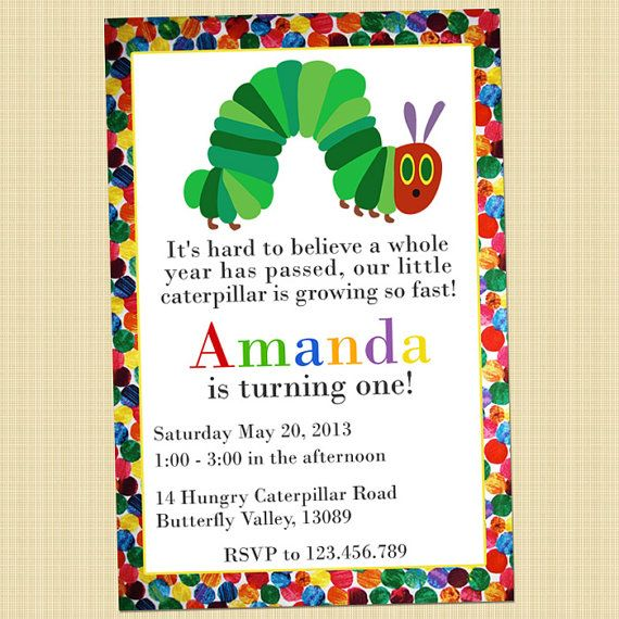 the very hungry caterpillar birthday invitation card hungry caterpillar invite digital or. Black Bedroom Furniture Sets. Home Design Ideas