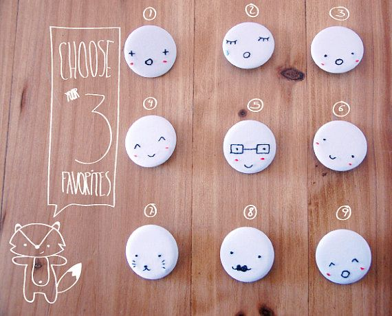 Hand embroidered little faces badges set by lepetitpot on Etsy// no. 3, 6 (or 8), and 7