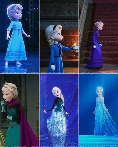Elsa's outfits over the years. Which one is your favorite (going left to right in both rows)? Mine is probably 3,5,or 6 .