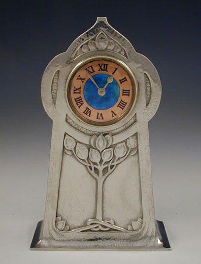 Archibald Knox art nouveau LIBERTY & Co Sterling & Enamel CLOCK