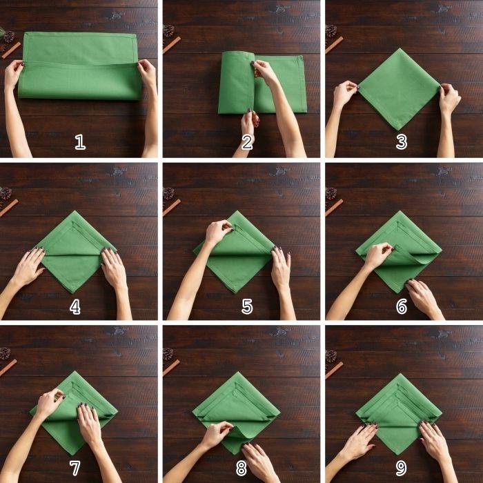 1001 Tutos Et Idees Pour Un Pliage De Serviette Pour Noel Pliage Serviette Serviettes En Tissu Pliage Serviette Tissu