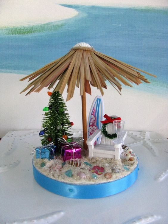 Desk Top Christmas Beach Adirondack Chair Christmas Tree--Surf Board-Flip Flops~Tiki Umbrella