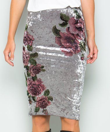 Another great find on #zulily! Gray Crushed Velvet Floral Pencil Skirt #zulilyfinds