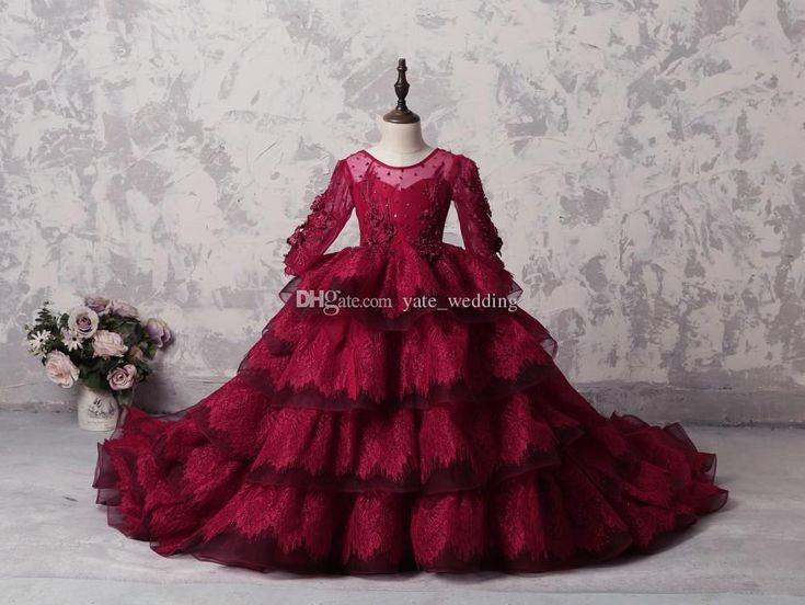 100% Real Image Dark Red Lace Girls Pageant Dresses Sheer Neck Long Sleeves Tiered Skirt Ball Gown Corset Children Party Dresses