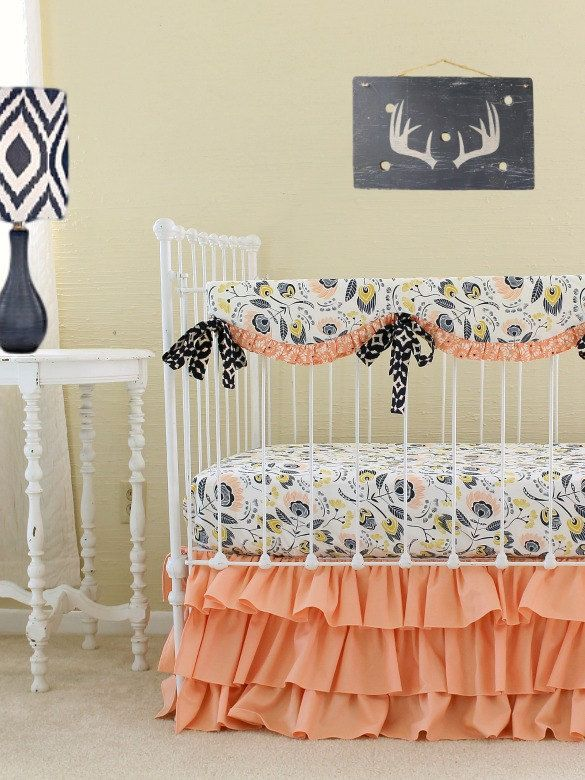 Peach a la Mode Custom Bumperless Crib Bedding Set, Peach and Navy Baby Girl Bedding for a Custom Nursery by LottieDaBaby on Etsy https://www.etsy.com/listing/192664890/peach-a-la-mode-custom-bumperless-crib
