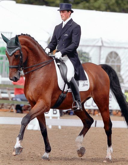 Britain's Michael Eilberg and his Grand Prix ride, the ex-show jumper Marakov at the Nationals