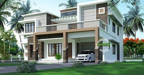 Modern Flat Roof Sober Colored Home In 2020 Kerala House Design House Design Pictures House Front Design