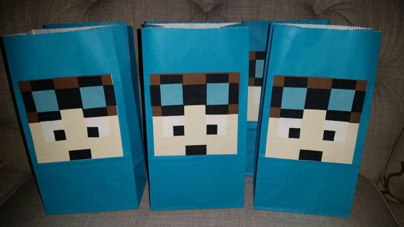 Handmade Minecraft Dantdm inspired party favors bags( set of 12)