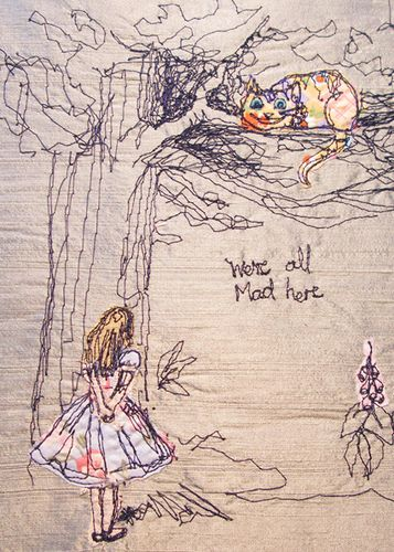 Hands in the air for freestyle machine sewn illustrations! Such a beautiful Alice and the Cheshire Cat.
