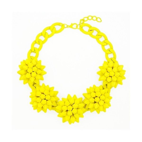 Spiky Blossom Bib - chunky neon yellow statement necklace by... ($30) ❤ liked on Polyvore featuring jewelry, necklaces, flower necklace, yellow necklace, adjustable necklace, yellow statement necklace and statement necklace