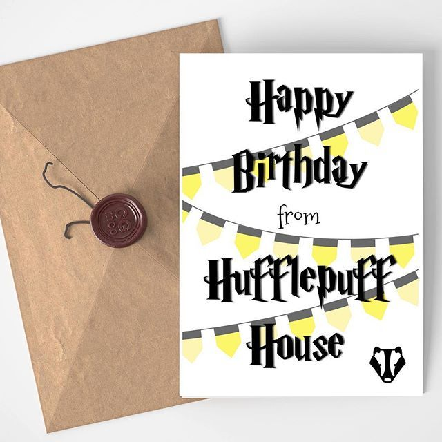 Added Harrypotter Birthday Cards For Every Hogwarts House In My Etsy Shop Harry Potter Birthday Cards Happy Birthday Cards Printable Birthday Card Printable