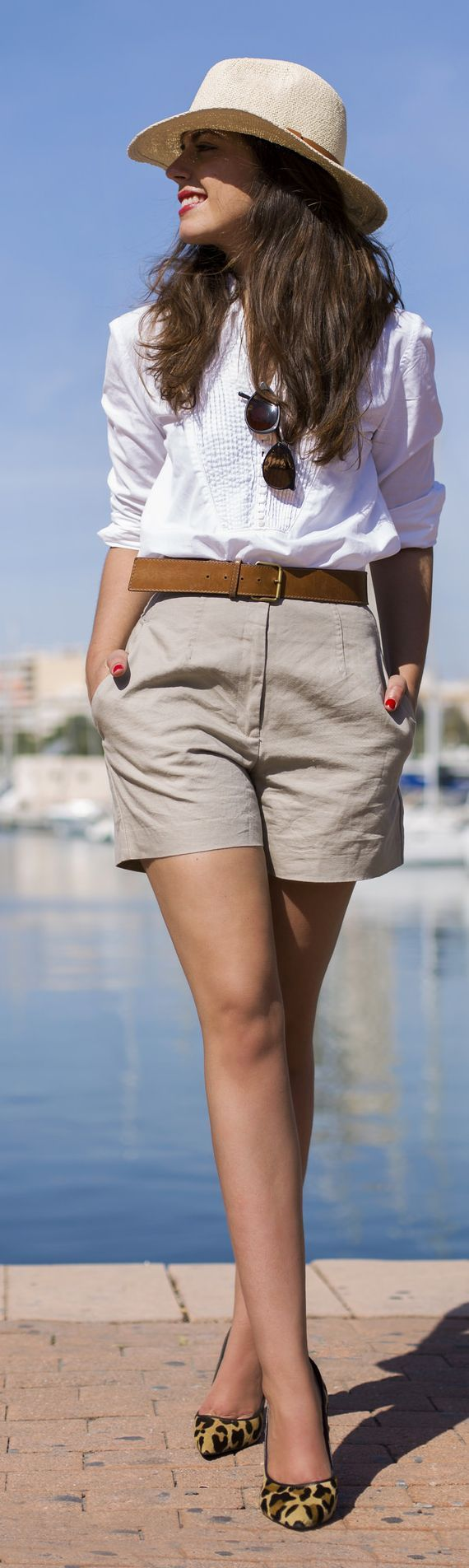 white shirts beige shorts + hat . Summer street women fashion outfit clothing style apparel @roressclothes closet ideas
