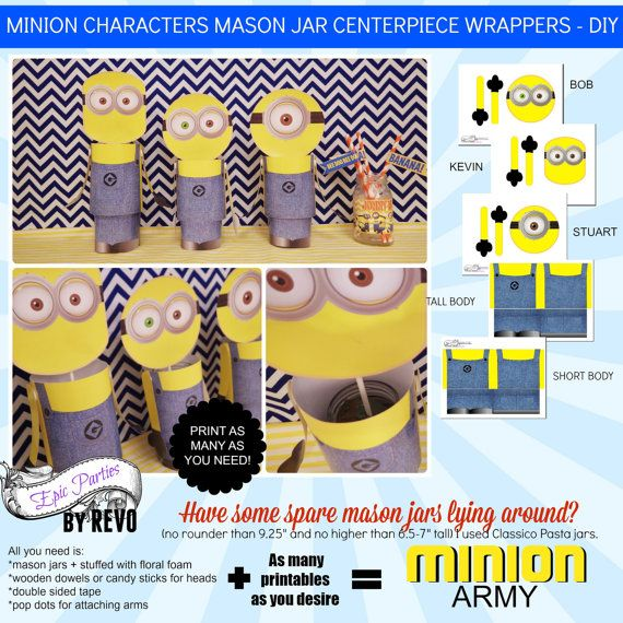 Minion Characters Mason Jar Printable by EpicpartiesbyREVO on Etsy