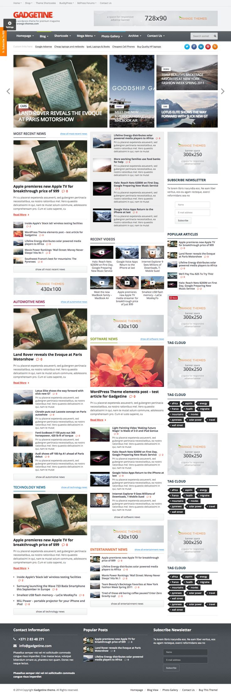 Gadgetine is premium blog magazine theme that will also work well for a serious news portal. The theme is very friendly for affiliate marketers or just regular bloggers who wish to monetize their hobby.