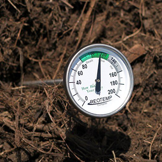 """Amazon.com : REOTEMP FG20P Backyard Compost Thermometer - 20"""" Stem, Fahrenheit with Composting Instructions : Outdoor Thermometers : Patio, Lawn & Garden"""