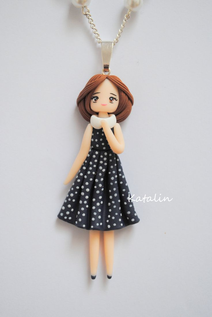 Vintage chibi doll polymer clay necklace. By Katalin Handmade (2013) #polymerclay #doll #fimo #chibi  #vintage #kawaii