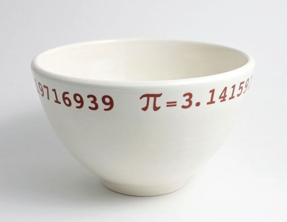 Pi Math Bowl in White and Red by LLTownleyCeramic. I want a coffee cup like this.