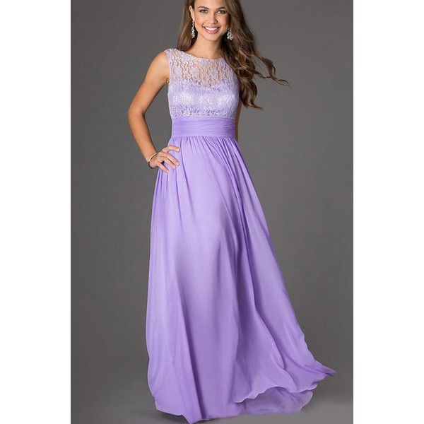Light Purple Lace Accent Chiffon Maxi Dress ($26) ❤ liked on Polyvore featuring…