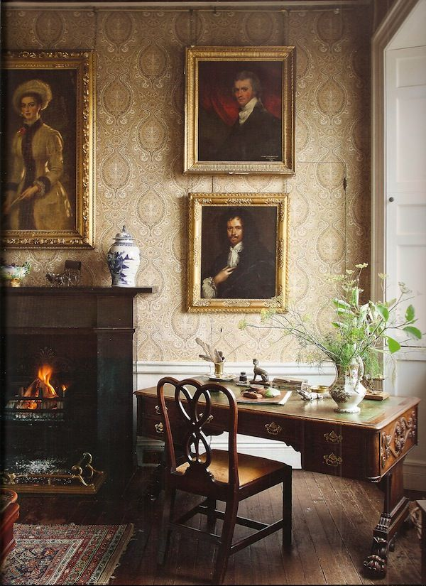 Wood floors, wall art, fireplace, rug, fabulous library table and chair......(19th c. gallery at Balcaskie from The Scottish Country House, photography by James Fennell)