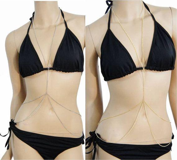 Multi-gelaagde Crossover dun lichaam keten Harness - Long Bikini Beach ketting taille riem Dangle sieraden punkrock lichaamspantser Cage goud zilver
