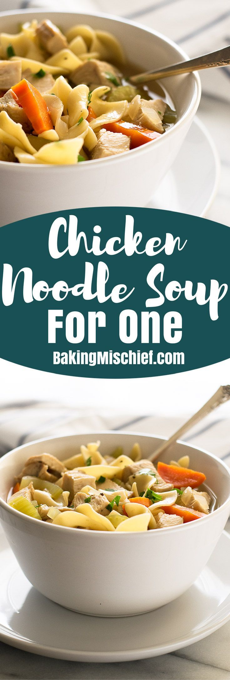 One pot and twenty minutes is all you need to make this quick and easy chicken noodle soup for one! From http://BakingMischief.com   Recipes for One   Lunch for One   Easy Lunch Ideas  