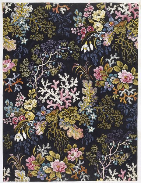 Design for a printed cotton by William Kilburn. Floral design with an occasional piece of coral and a seaweed-like plant on a black background.